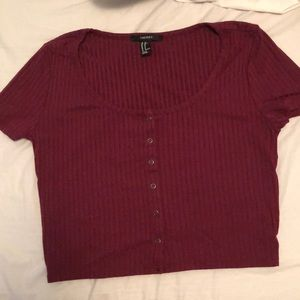 Red Ribbed Button Up Tee